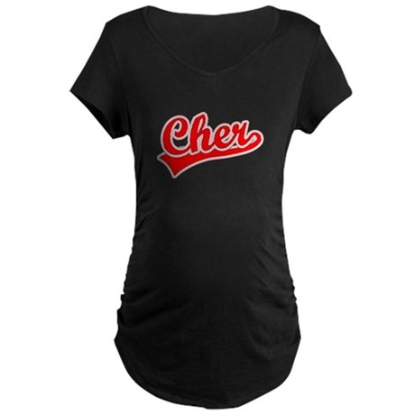 Retro Cher (Red) Maternity Dark T-Shirt