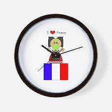 I Love France Wall Clock