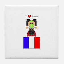 I Love France Tile Coaster