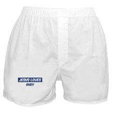 Jesus Loves Rudy Boxer Shorts