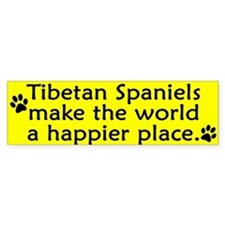 Happy Place Tibetan Spaniel Bumper Car Sticker