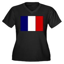 French Flag Women's Plus Size V-Neck Dark T-Shirt