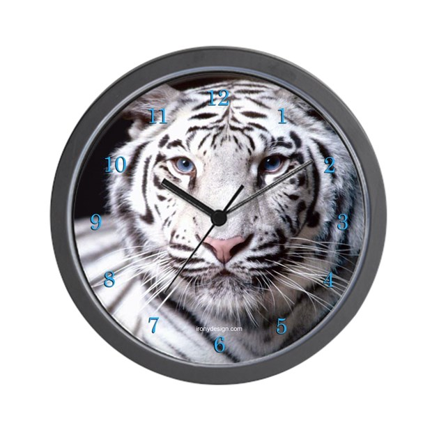 White Bengal Tiger Wall Clock by ironydesign