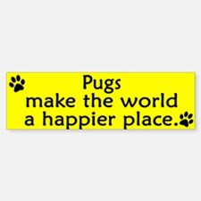 Happy Place Pug Bumper Bumper Bumper Sticker