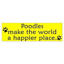 Happy Place Poodle Bumper Car Sticker