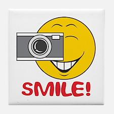 Photographer Smiley Face Tile Coaster
