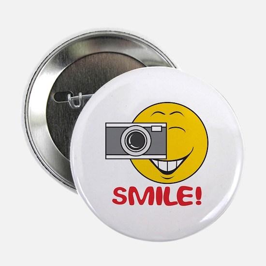 """Photographer Smiley Face 2.25"""" Button"""