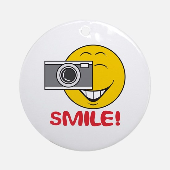 Photographer Smiley Face Ornament (Round)