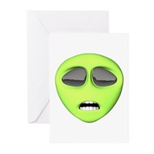 Scared Alien Face Greeting Cards (Pk of 20)