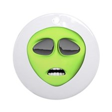 Scared Alien Face Ornament (Round)