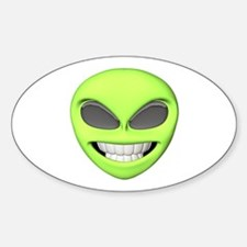 Cheesy Smile Alien Face Oval Decal