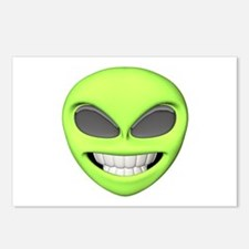 Cheesy Smile Alien Face Postcards (Package of 8)