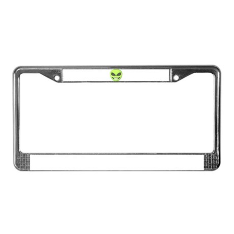 Cheesy Smile Alien Face License Plate Frame