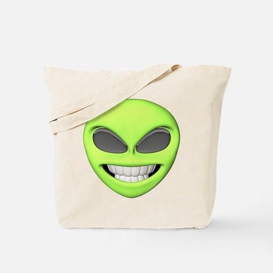 Cheesy Smile Alien Face Tote Bag