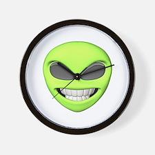 Cheesy Smile Alien Face Wall Clock