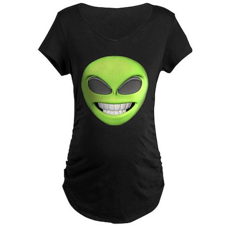 Cheesy Smile Alien Face Maternity Dark T-Shirt