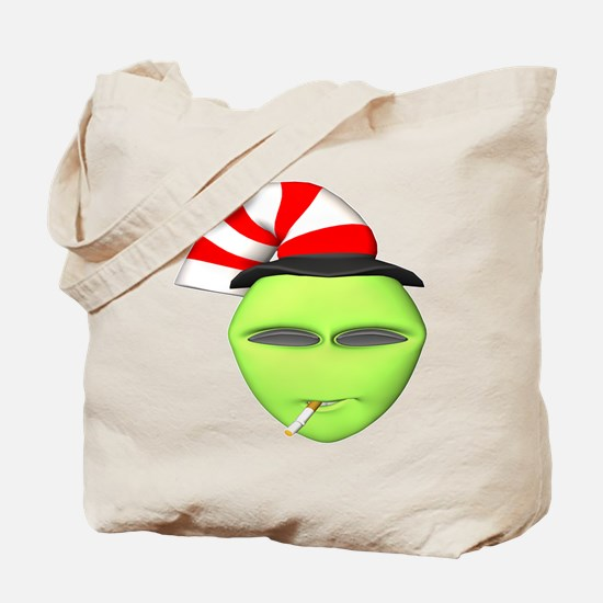 Smoking Alien with Hat Tote Bag