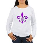 Fleur De Lis Purple Women's Long Sleeve T-Shirt