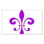 Fleur De Lis Purple Rectangle Sticker