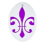 Fleur De Lis Purple Oval Ornament