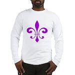Fleur De Lis Purple Long Sleeve T-Shirt