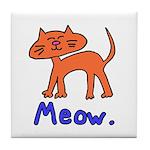 MEOW. Orange Kitty Tile Coaster