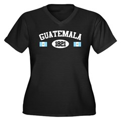 Guatemala 1821 Women's Plus Size V-Neck Dark T-Shi