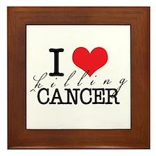 i heart killing cancer Framed Tile