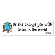 Be the Change Bumper Car Sticker