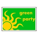 Green Party Banner With Sun Motif
