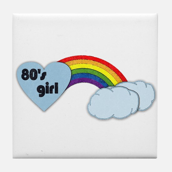 80's girl (black print) Tile Coaster