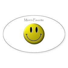 Mom's Favorite Smiley Face Oval Sticker (10 pk)