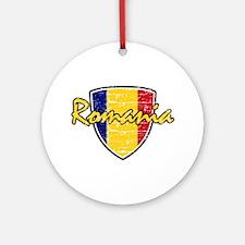 Romanian soccer shield Ornament (Round)