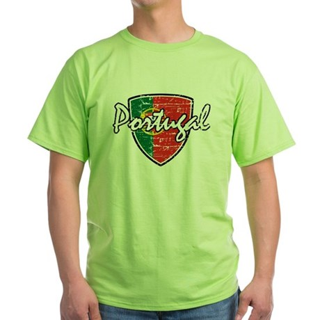 Portuguese distressed Flag Green T-Shirt