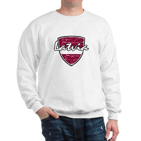 Latvia distressed Flag Sweatshirt