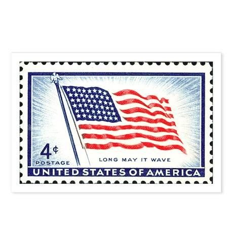 Patriotic Flag Stamp Postcards (Package of 8)