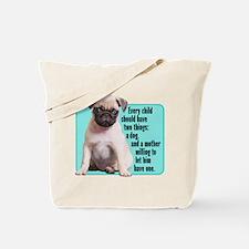 Pug, Child, Mother - Tote Bag