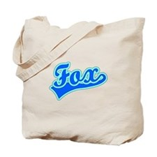 Retro Fox (Blue) Tote Bag