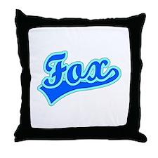 Retro Fox (Blue) Throw Pillow