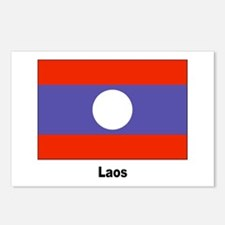 Laos Laotian Flag Postcards (Package of 8)