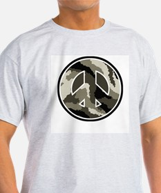 Camouflage Pattern Peace Sign Ash Grey T-Shirt