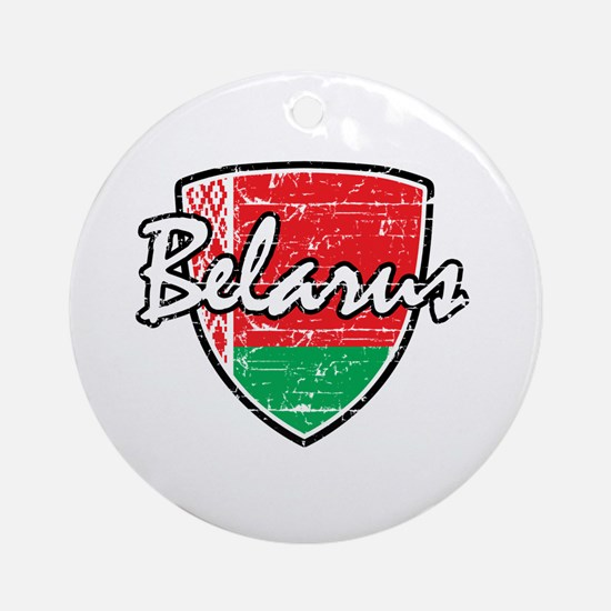 Belarus distressed Flag Ornament (Round)