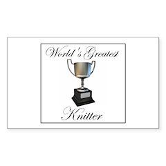 World's Greatest Knitter Rectangle Sticker 50 pk)