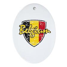 Belgium distressed Flag Oval Ornament