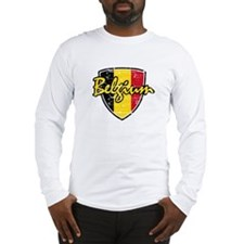 Belgium distressed Flag Long Sleeve T-Shirt