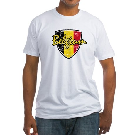 Distressed Belgian soccer shield Fitted T-Shirt