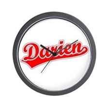Retro Darien (Red) Wall Clock