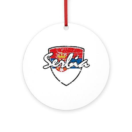 Serbia distressed flag Ornament (Round)