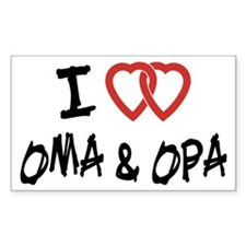 I Love Oma and Opa Rectangle Bumper Stickers