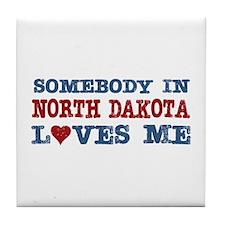 Somebody in North Dakota Loves Me Tile Coaster
